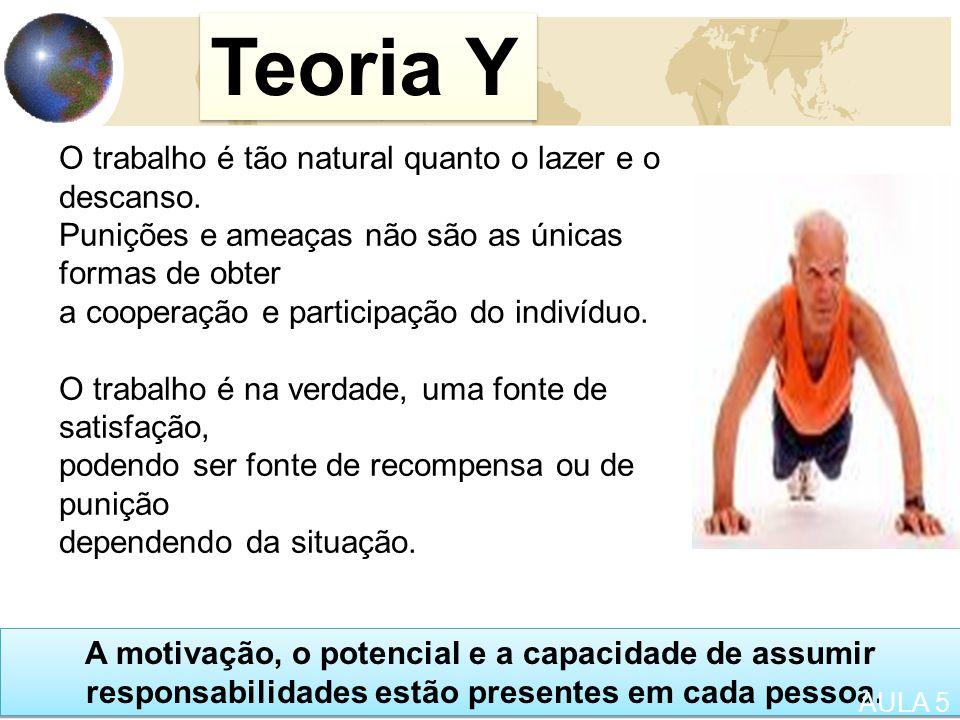 22 Teoria Y O trabalho é tão natural quanto o lazer e o descanso.