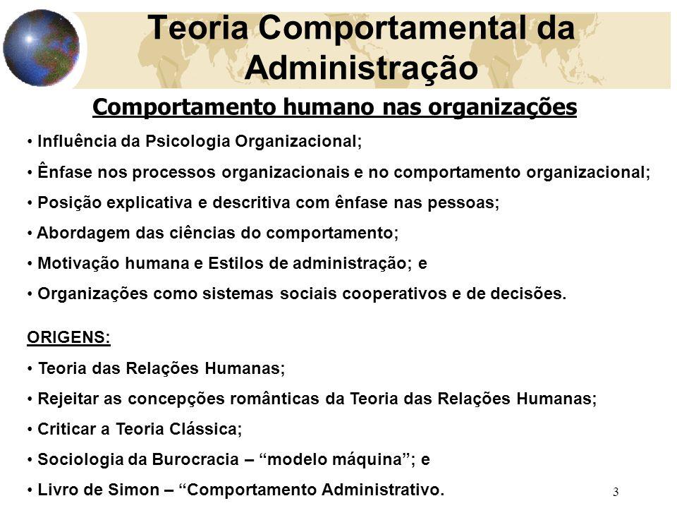 3 Teoria Comportamental da Administração Comportamento humano nas organizações Influência da Psicologia Organizacional; Ênfase nos processos organizac