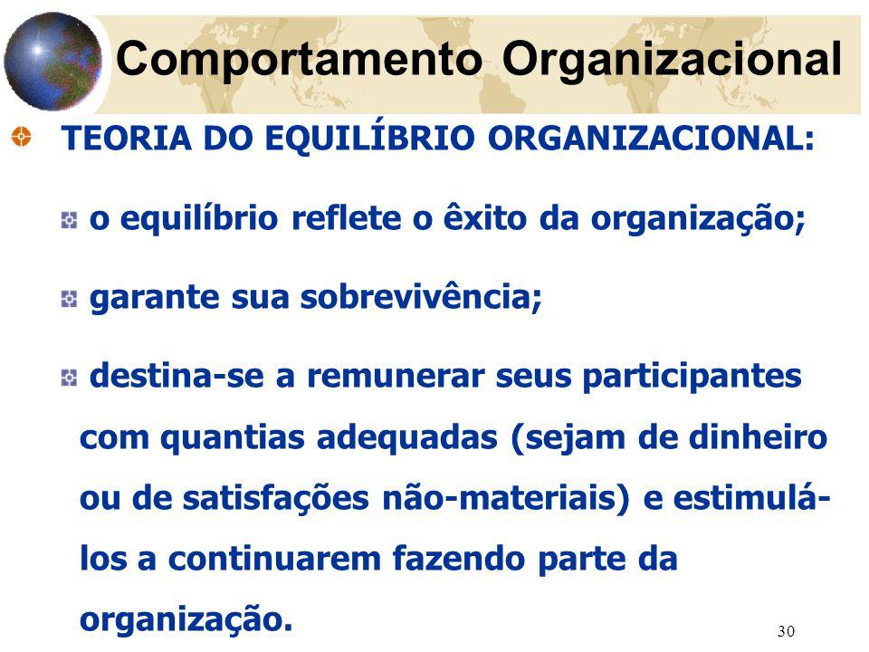 30 TEORIA DO EQUILÍBRIO ORGANIZACIONAL: o equilíbrio reflete o êxito da organização; garante sua sobrevivência; destina-se a remunerar seus participantes com quantias adequadas (sejam de dinheiro ou de satisfações não-materiais) e estimulá- los a continuarem fazendo parte da organização.