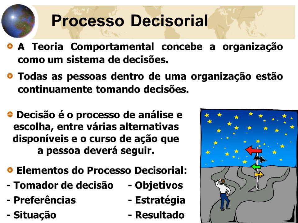 33 Processo Decisorial A Teoria Comportamental concebe a organização como um sistema de decisões. Todas as pessoas dentro de uma organização estão con