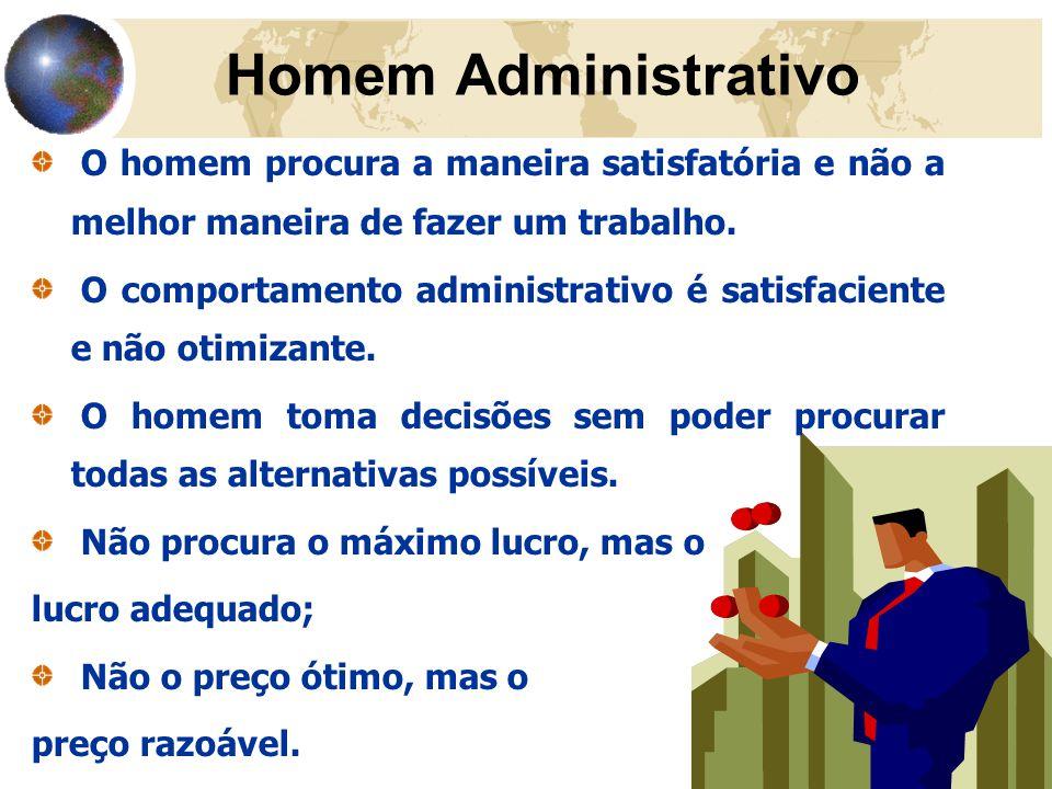 36 Homem Administrativo O homem procura a maneira satisfatória e não a melhor maneira de fazer um trabalho. O comportamento administrativo é satisfaci
