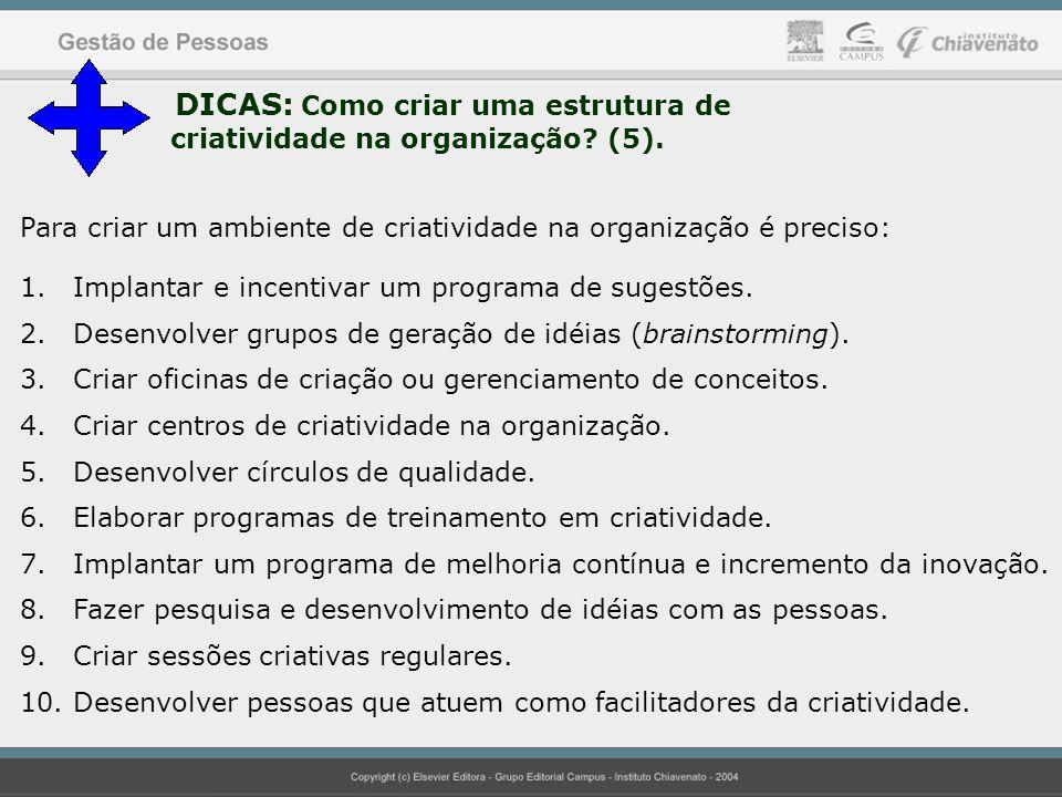 37 DICAS: Como criar uma estrutura de criatividade na organização? (5). Para criar um ambiente de criatividade na organização é preciso: 1.Implantar e