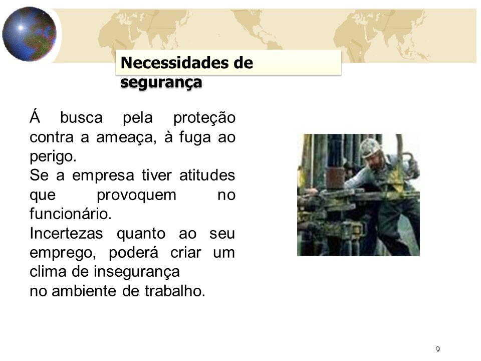 9 AULA 5 Necessidades de segurança Á busca pela proteção contra a ameaça, à fuga ao perigo.