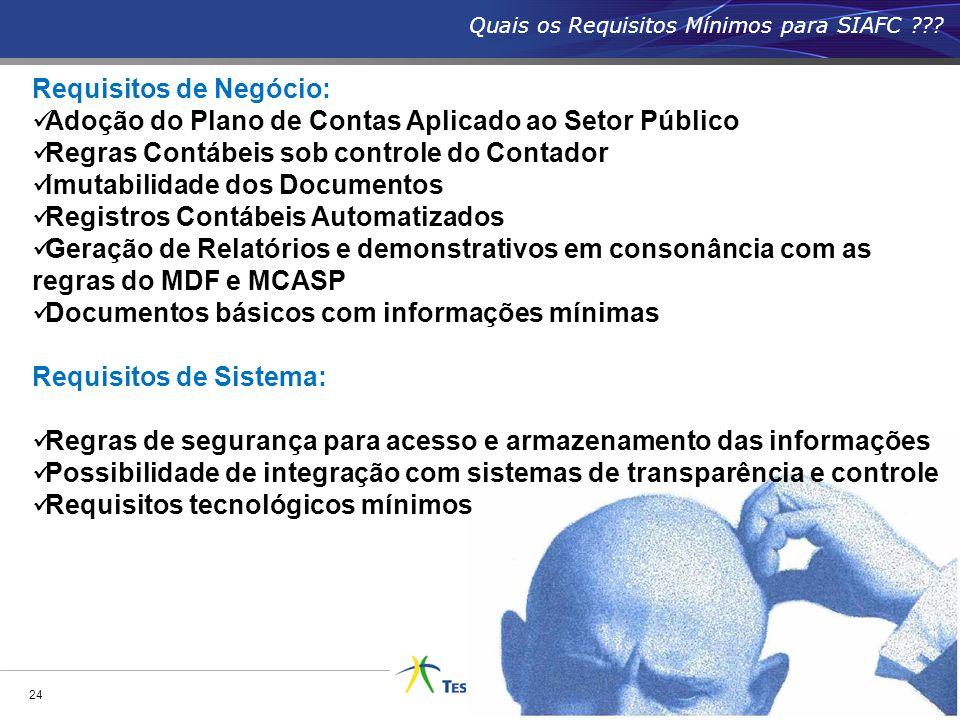 Quais os Requisitos Mínimos para SIAFC ??? 24 Requisitos de Negócio: Adoção do Plano de Contas Aplicado ao Setor Público Regras Contábeis sob controle