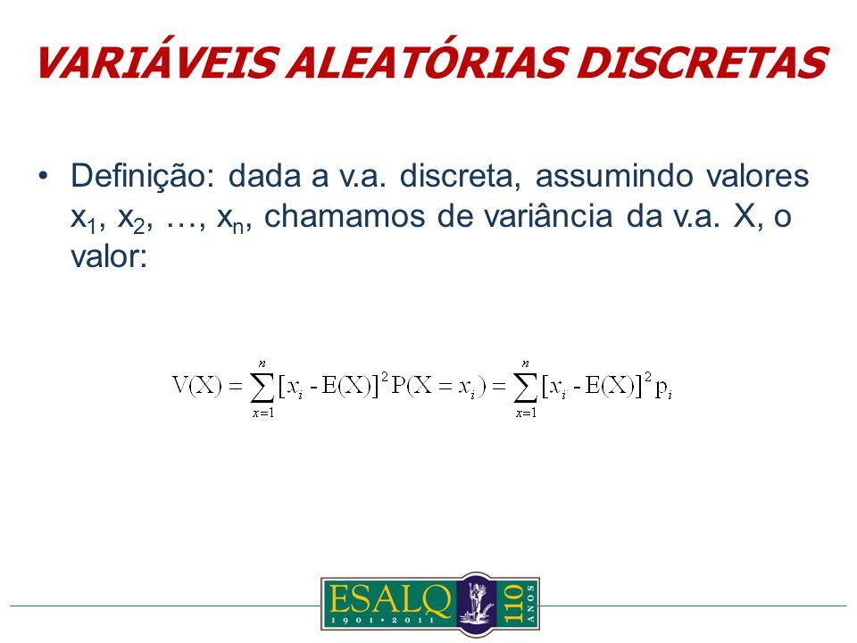 Definição: dada a v.a. discreta, assumindo valores x 1, x 2, …, x n, chamamos de variância da v.a.