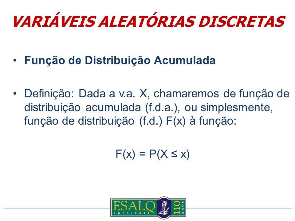 Função de Distribuição Acumulada Definição: Dada a v.a.