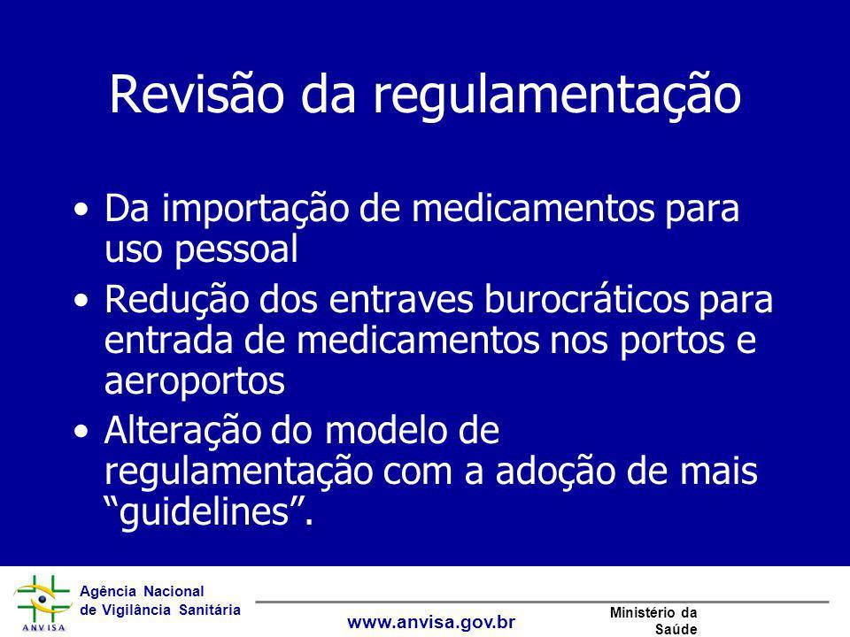 Agência Nacional de Vigilância Sanitária www.anvisa.gov.br Ministério da Saúde Revisão da regulamentação Da importação de medicamentos para uso pessoa