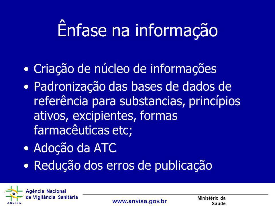 Agência Nacional de Vigilância Sanitária www.anvisa.gov.br Ministério da Saúde Ênfase na informação Criação de núcleo de informações Padronização das