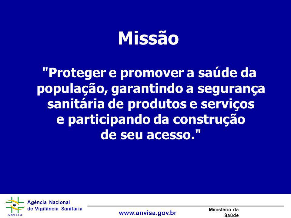 Agência Nacional de Vigilância Sanitária www.anvisa.gov.br Ministério da Saúde Valores Conhecimento como fonte de ação Transparência Cooperação Responsabilização