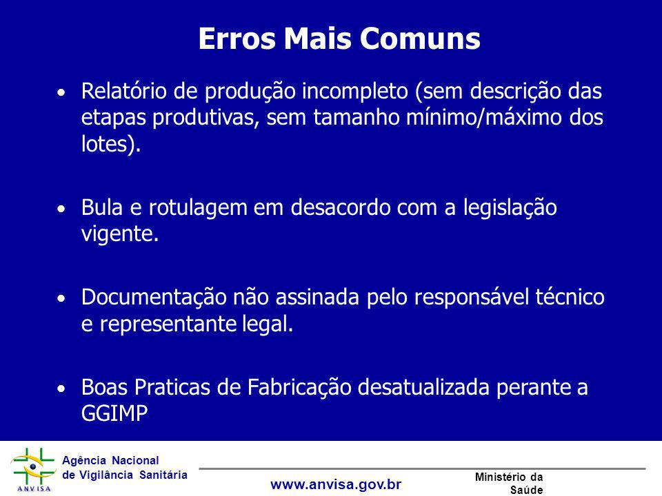 Agência Nacional de Vigilância Sanitária www.anvisa.gov.br Ministério da Saúde Erros Mais Comuns Relatório de produção incompleto (sem descrição das e