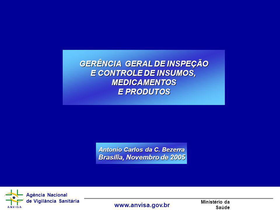 Agência Nacional de Vigilância Sanitária www.anvisa.gov.br Ministério da Saúde GERÊNCIA GERAL DE INSPEÇÃO E CONTROLE DE INSUMOS, MEDICAMENTOS E PRODUT