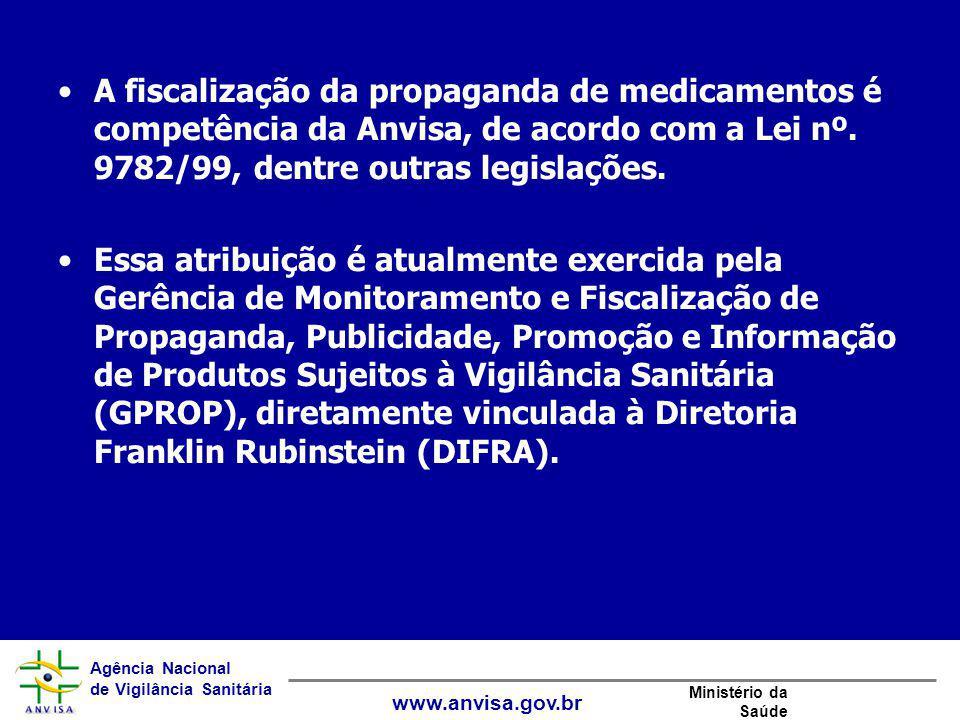 Agência Nacional de Vigilância Sanitária www.anvisa.gov.br Ministério da Saúde A fiscalização da propaganda de medicamentos é competência da Anvisa, d