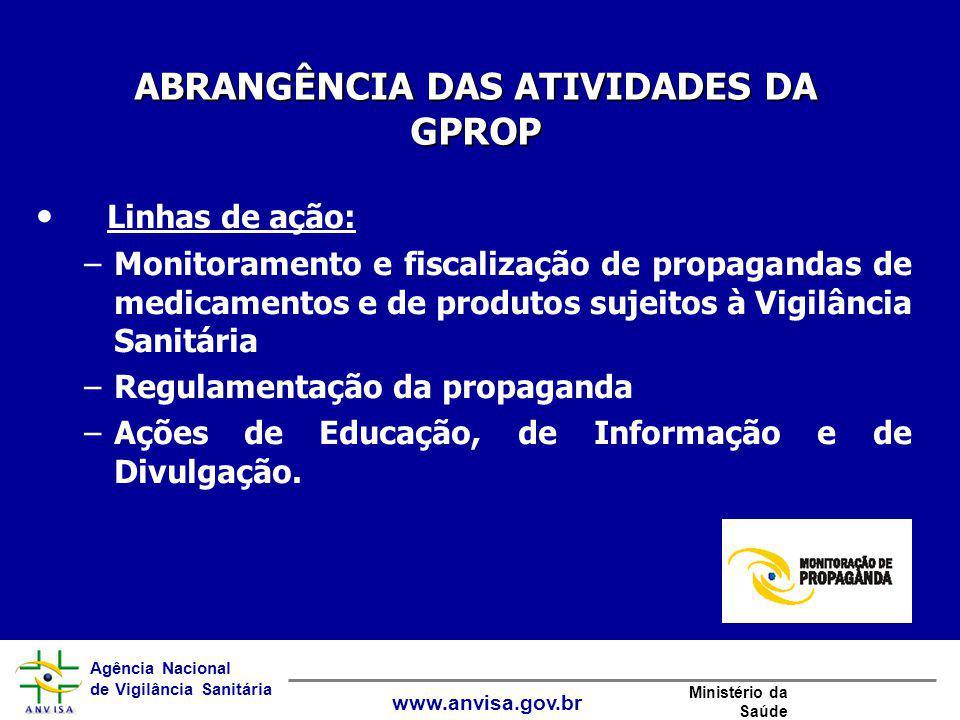 Agência Nacional de Vigilância Sanitária www.anvisa.gov.br Ministério da Saúde Linhas de ação: –Monitoramento e fiscalização de propagandas de medicam