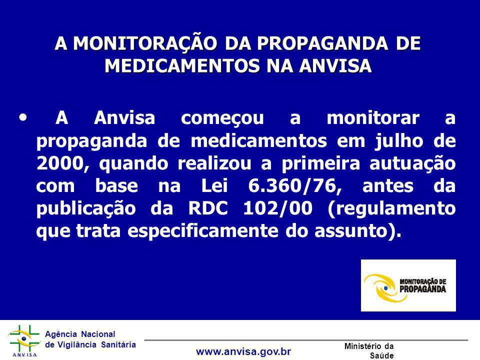 Agência Nacional de Vigilância Sanitária www.anvisa.gov.br Ministério da Saúde A Anvisa começou a monitorar a propaganda de medicamentos em julho de 2