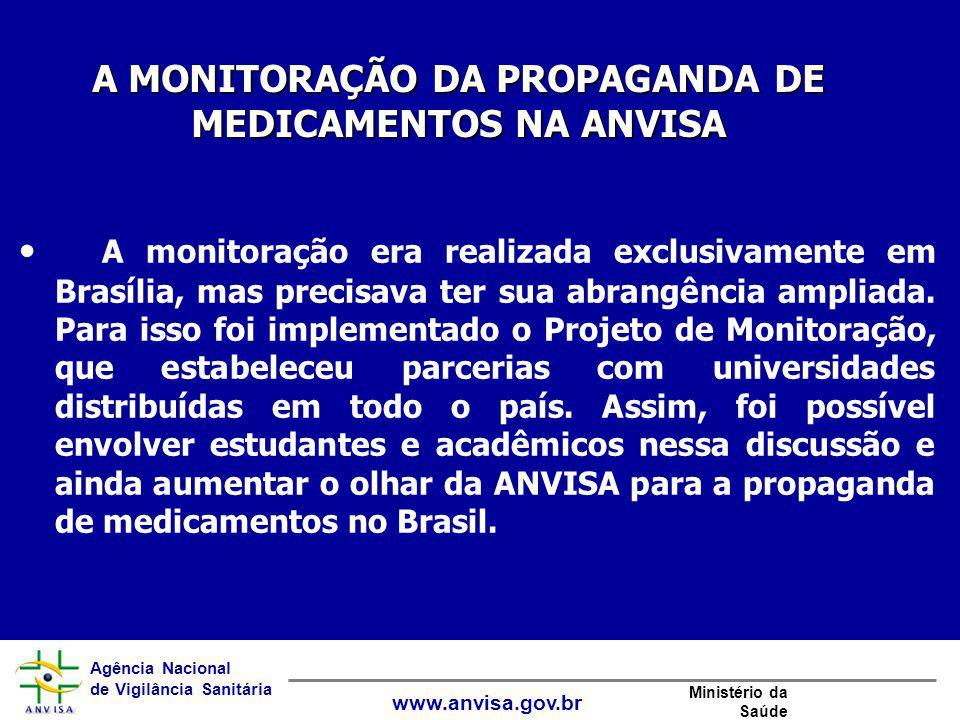 Agência Nacional de Vigilância Sanitária www.anvisa.gov.br Ministério da Saúde A monitoração era realizada exclusivamente em Brasília, mas precisava t
