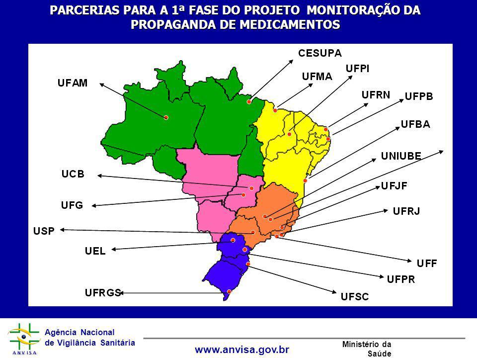 Agência Nacional de Vigilância Sanitária www.anvisa.gov.br Ministério da Saúde PARCERIAS PARA A 1ª FASE DO PROJETO MONITORAÇÃO DA PROPAGANDA DE MEDICA