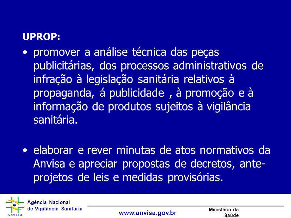 Agência Nacional de Vigilância Sanitária www.anvisa.gov.br Ministério da Saúde UPROP: promover a análise técnica das peças publicitárias, dos processo