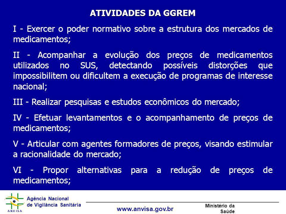 Agência Nacional de Vigilância Sanitária www.anvisa.gov.br Ministério da Saúde ATIVIDADES DA GGREM I - Exercer o poder normativo sobre a estrutura dos