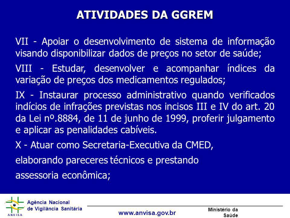 Agência Nacional de Vigilância Sanitária www.anvisa.gov.br Ministério da Saúde ATIVIDADES DA GGREM VII - Apoiar o desenvolvimento de sistema de inform