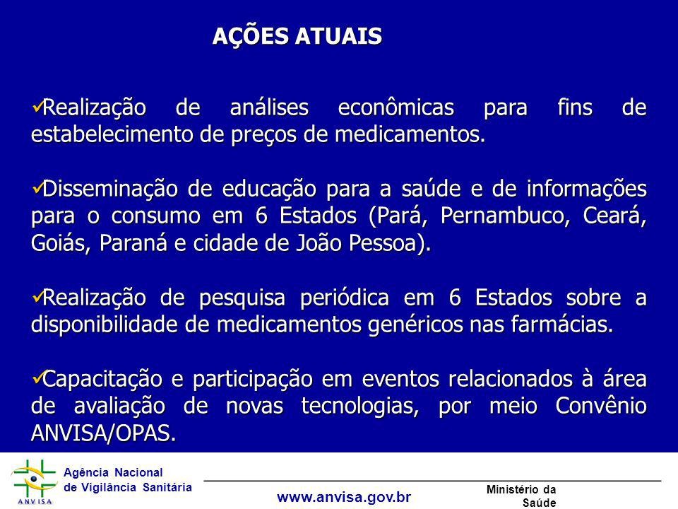 Agência Nacional de Vigilância Sanitária www.anvisa.gov.br Ministério da Saúde AÇÕES ATUAIS Realização de análises econômicas para fins de estabelecim