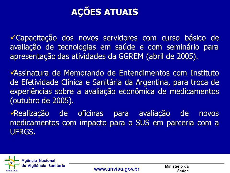 Agência Nacional de Vigilância Sanitária www.anvisa.gov.br Ministério da Saúde AÇÕES ATUAIS Capacitação dos novos servidores com curso básico de avali