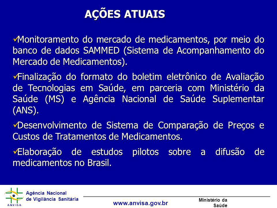 Agência Nacional de Vigilância Sanitária www.anvisa.gov.br Ministério da Saúde Monitoramento do mercado de medicamentos, por meio do banco de dados SA