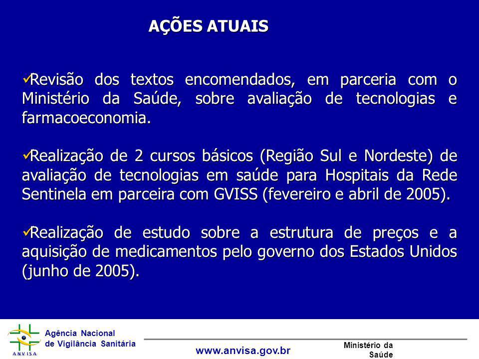 Agência Nacional de Vigilância Sanitária www.anvisa.gov.br Ministério da Saúde Revisão dos textos encomendados, em parceria com o Ministério da Saúde,