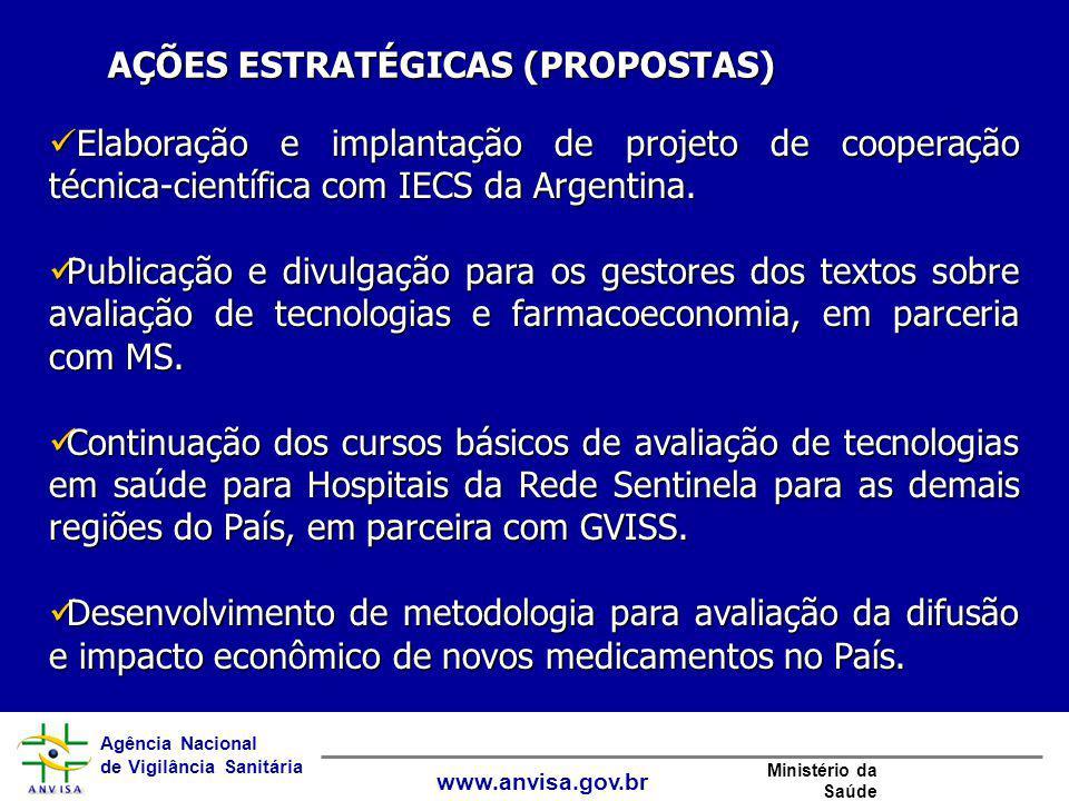 Agência Nacional de Vigilância Sanitária www.anvisa.gov.br Ministério da Saúde Elaboração e implantação de projeto de cooperação técnica-científica co