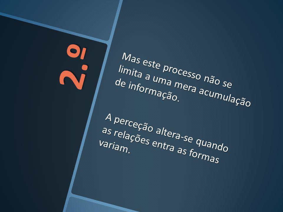 2.º Mas este processo não se limita a uma mera acumulação de informação. A perceção altera-se quando as relações entra as formas variam.