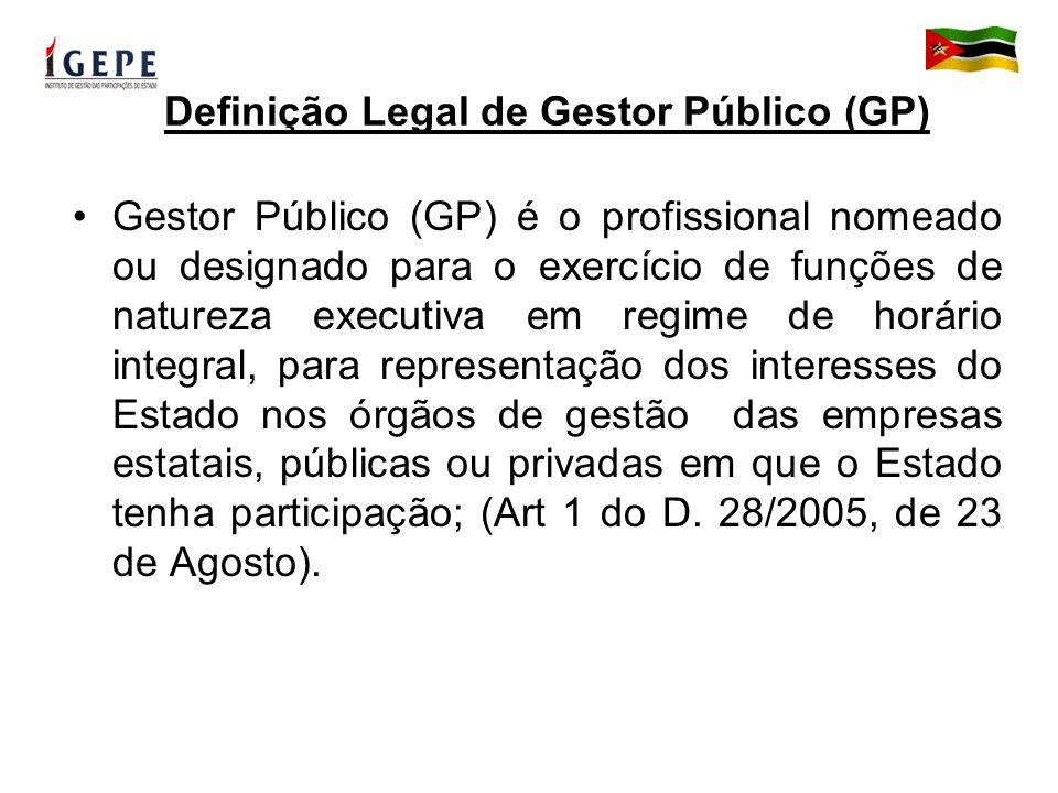 Perfil e Papel do GP Deve ser um profissional de reconhecida idoneidade, com competência técnico- profissional ou relevante experiência empresarial; (Art 3 do D.