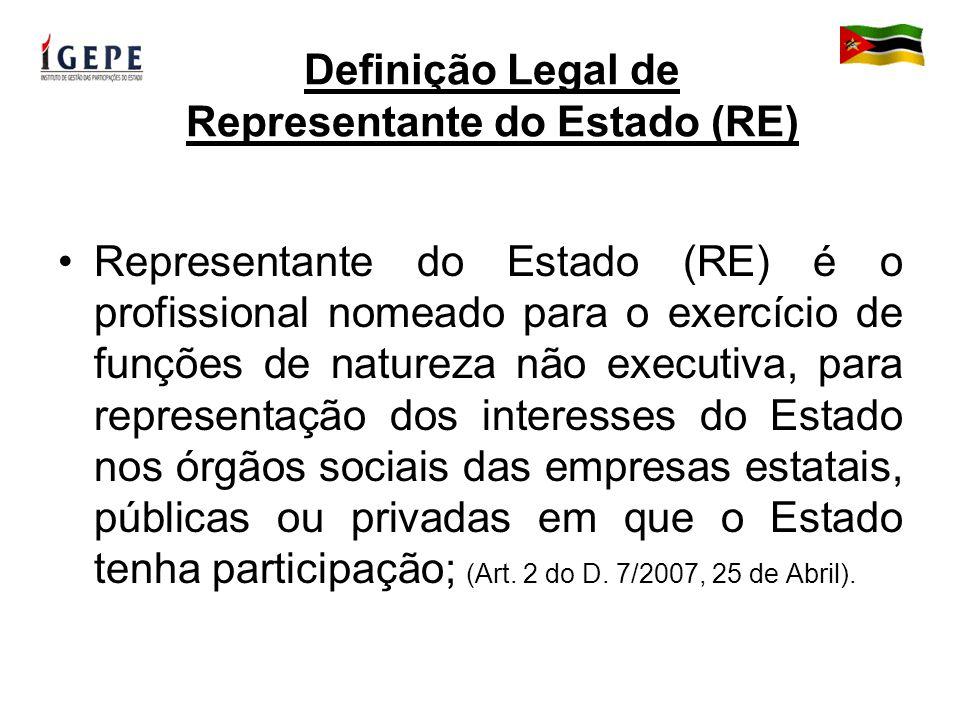 Definição Legal de Representante do Estado (RE) Representante do Estado (RE) é o profissional nomeado para o exercício de funções de natureza não executiva, para representação dos interesses do Estado nos órgãos sociais das empresas estatais, públicas ou privadas em que o Estado tenha participação; (Art.
