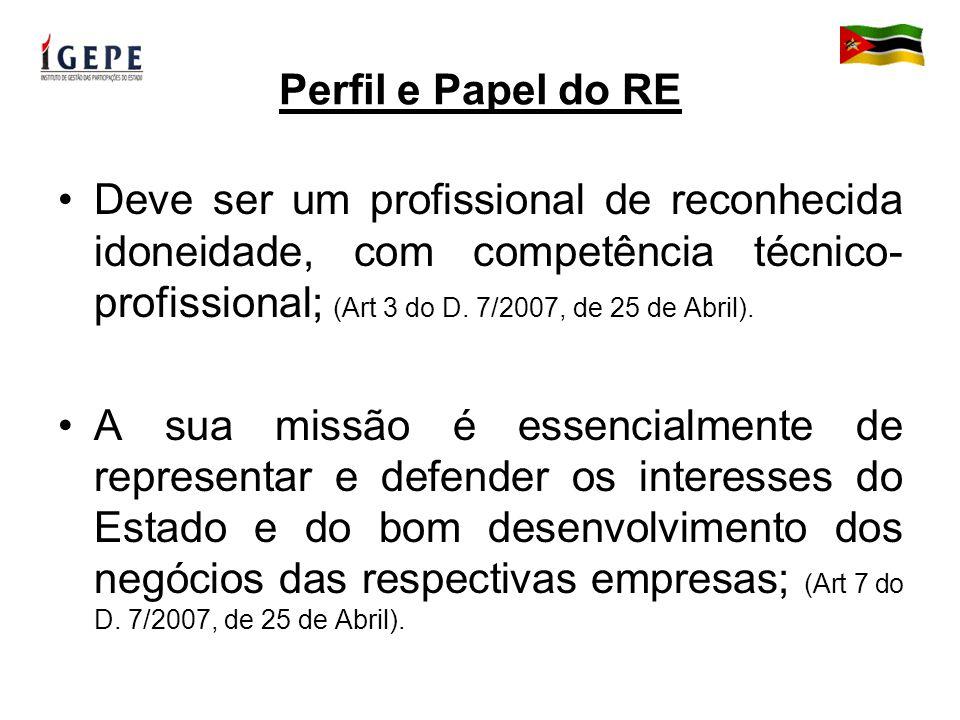 Perfil e Papel do RE Deve ser um profissional de reconhecida idoneidade, com competência técnico- profissional; (Art 3 do D.