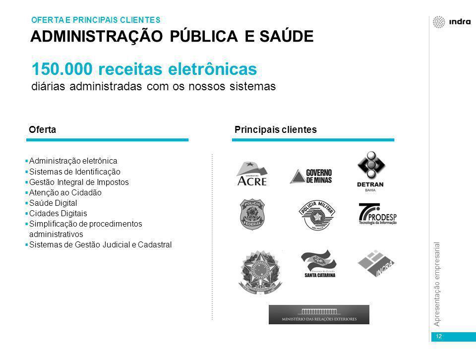 Apresentação empresarial 12 ADMINISTRAÇÃO PÚBLICA E SAÚDE OFERTA E PRINCIPAIS CLIENTES  Administração eletrônica  Sistemas de Identificação  Gestão