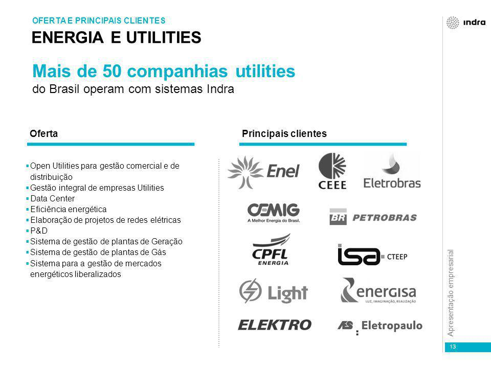 Apresentação empresarial 13 ENERGIA E UTILITIES OFERTA E PRINCIPAIS CLIENTES  Open Utilities para gestão comercial e de distribuição  Gestão integra