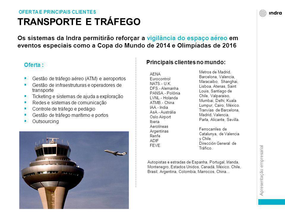 Apresentação empresarial TRANSPORTE E TRÁFEGO OFERTA E PRINCIPAIS CLIENTES Oferta :  Gestão de tráfego aéreo (ATM) e aeroportos  Gestão de infraestr