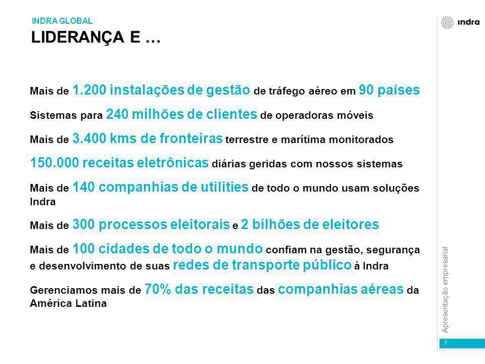 Apresentação empresarial 7 Mais de 1.200 instalações de gestão de tráfego aéreo em 90 países Sistemas para 240 milhões de clientes de operadoras móvei
