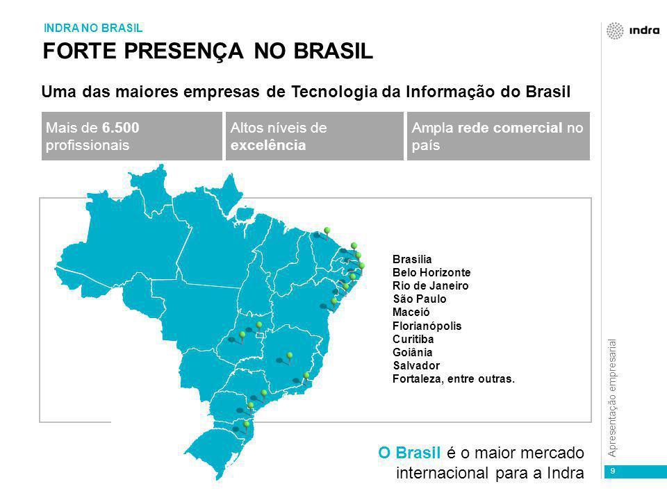 Apresentação empresarial 9 FORTE PRESENÇA NO BRASIL Uma das maiores empresas de Tecnologia da Informação do Brasil Brasília Belo Horizonte Rio de Jane