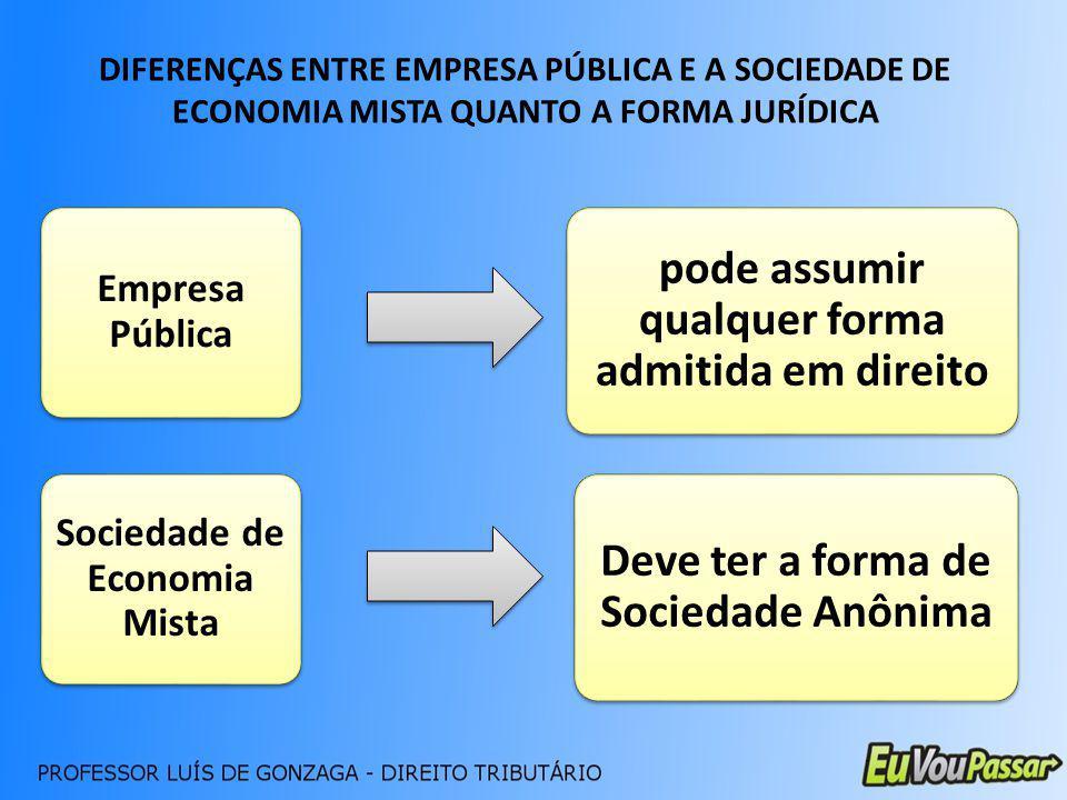 DIFERENÇAS ENTRE EMPRESA PÚBLICA E A SOCIEDADE DE ECONOMIA MISTA QUANTO A FORMA JURÍDICA Empresa Pública Sociedade de Economia Mista pode assumir qual