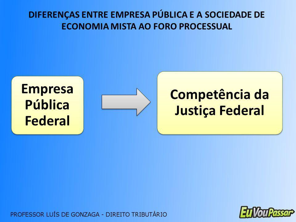 DIFERENÇAS ENTRE EMPRESA PÚBLICA E A SOCIEDADE DE ECONOMIA MISTA AO FORO PROCESSUAL Empresa Pública Federal Competência da Justiça Federal