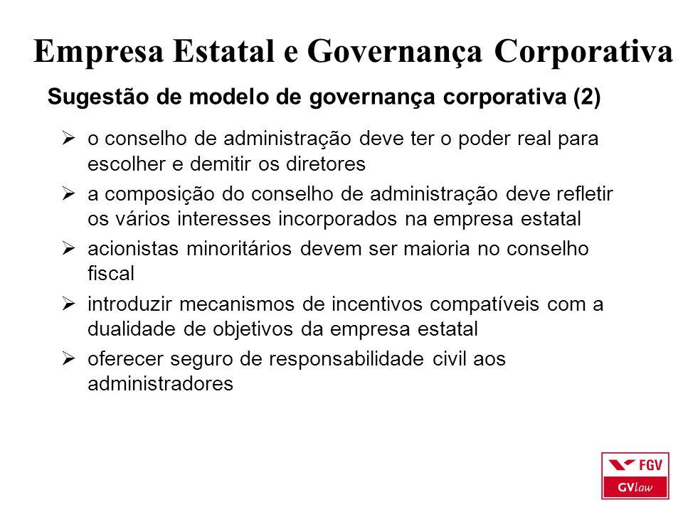 Empresa Estatal e Governança Corporativa Sugestão de modelo de governança corporativa (2)  o conselho de administração deve ter o poder real para esc