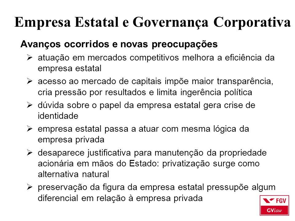 Empresa Estatal e Governança Corporativa Avanços ocorridos e novas preocupações  atuação em mercados competitivos melhora a eficiência da empresa est