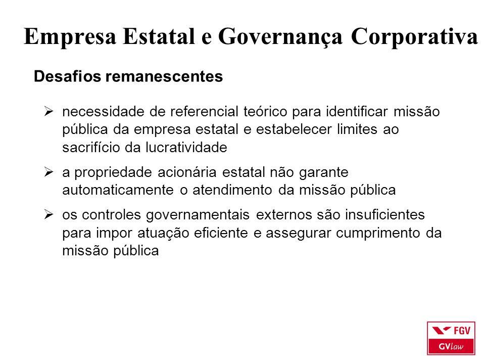 Empresa Estatal e Governança Corporativa Desafios remanescentes  necessidade de referencial teórico para identificar missão pública da empresa estata
