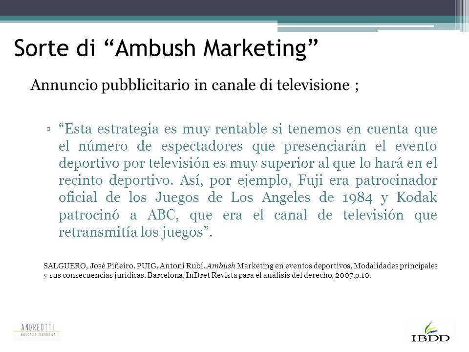 """Sorte di """"Ambush Marketing"""" Annuncio pubblicitario in canale di televisione ; ▫""""Esta estrategia es muy rentable si tenemos en cuenta que el número de"""