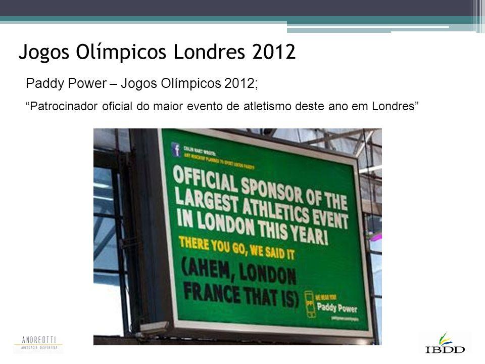 """Jogos Olímpicos Londres 2012 Paddy Power – Jogos Olímpicos 2012; """"Patrocinador oficial do maior evento de atletismo deste ano em Londres"""""""