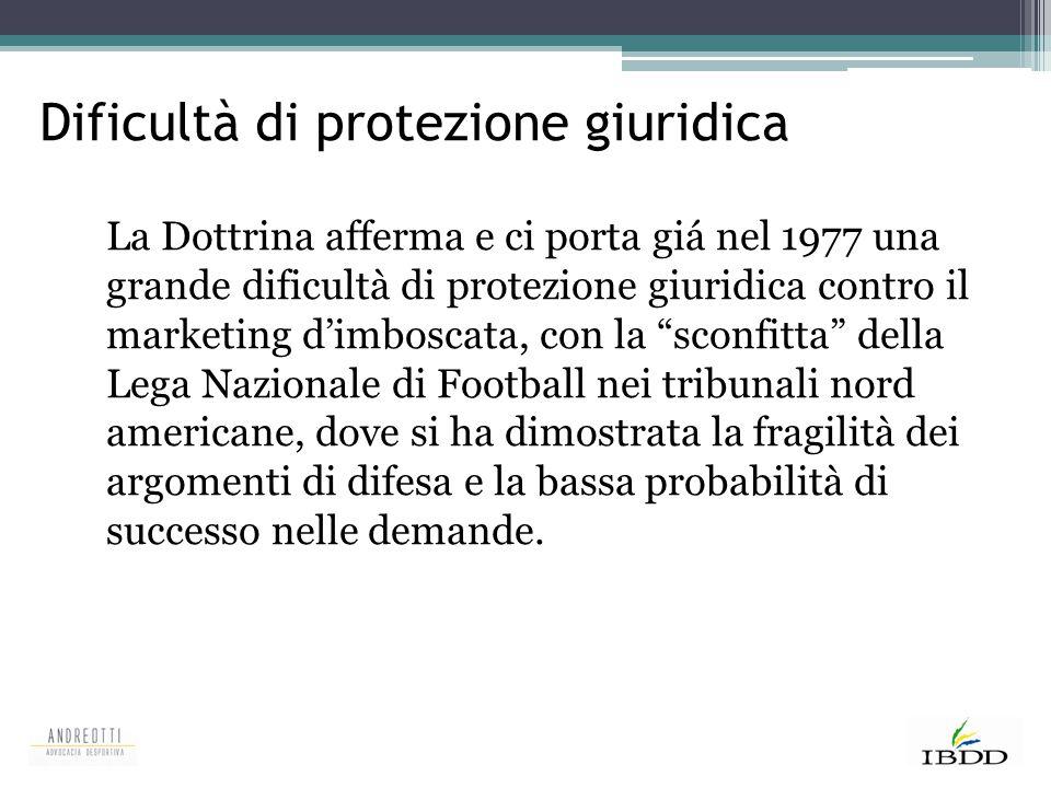 Dificultà di protezione giuridica La Dottrina afferma e ci porta giá nel 1977 una grande dificultà di protezione giuridica contro il marketing d'imbos