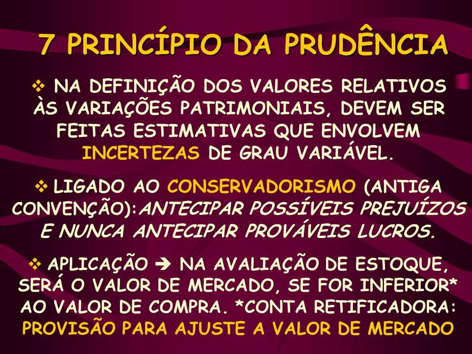 7 PRINCÍPIO DA PRUDÊNCIA 7 PRINCÍPIO DA PRUDÊNCIA  NA DEFINIÇÃO DOS VALORES RELATIVOS ÀS VARIAÇÕES PATRIMONIAIS, DEVEM SER FEITAS ESTIMATIVAS QUE ENVOLVEM INCERTEZAS DE GRAU VARIÁVEL.