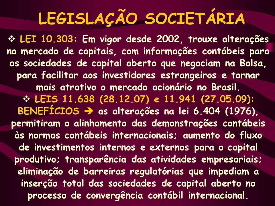  LEI 10.303: Em vigor desde 2002, trouxe alterações no mercado de capitais, com informações contábeis para as sociedades de capital aberto que negociam na Bolsa, para facilitar aos investidores estrangeiros e tornar mais atrativo o mercado acionário no Brasil.