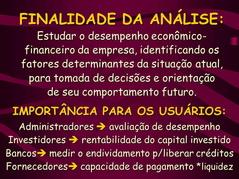 FINALIDADE DA ANÁLISE: Estudar o desempenho econômico- financeiro da empresa, identificando os fatores determinantes da situação atual, para tomada de