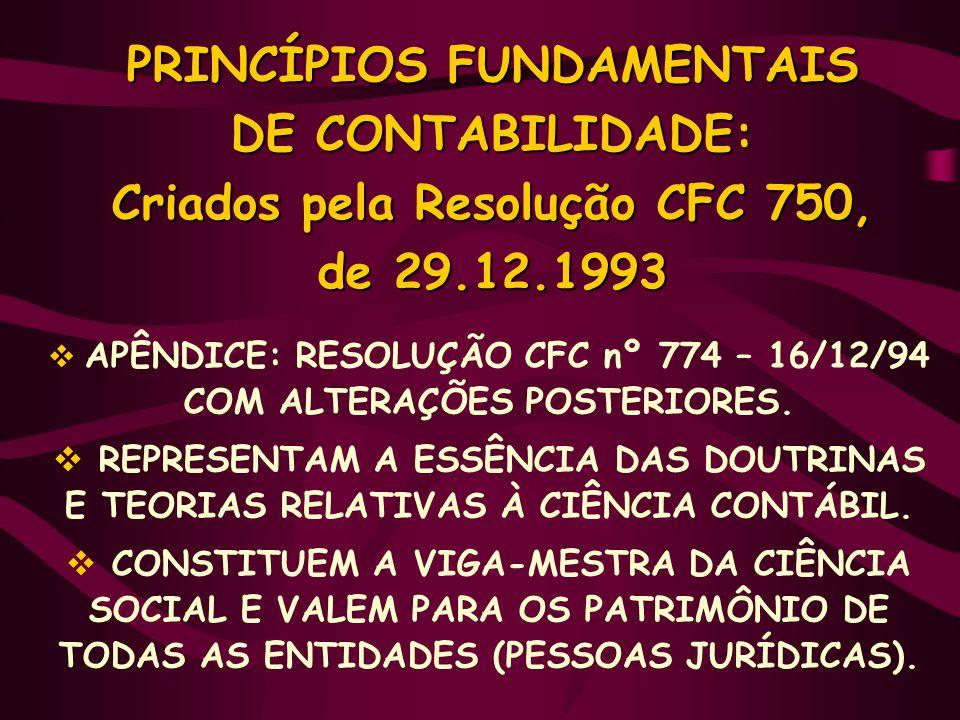 PRINCÍPIOS FUNDAMENTAIS DE CONTABILIDADE: Criados pela Resolução CFC 750, de 29.12.1993  APÊNDICE: RESOLUÇÃO CFC nº 774 – 16/12/94 COM ALTERAÇÕES POS