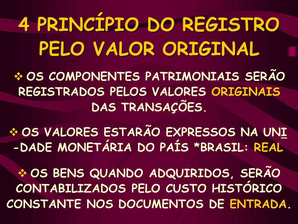 4 PRINCÍPIO DO REGISTRO PELO VALOR ORIGINAL  OS COMPONENTES PATRIMONIAIS SERÃO REGISTRADOS PELOS VALORES ORIGINAIS DAS TRANSAÇÕES.  OS VALORES ESTAR